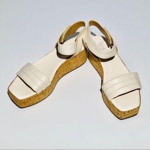 FRANCO SARTO white platform sandals SZ 9.5M